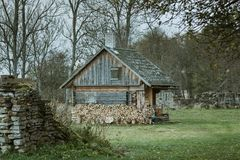 Wooden cabin in Pakri islands, Estonia royalty free stock images