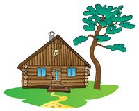 Wooden cabin and pine tree Stock Photo