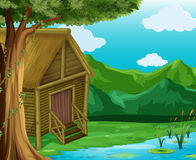 Wooden cabin by the river royalty free illustration