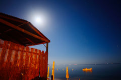 Wooden cabin by the sea in Alghero Royalty Free Stock Images