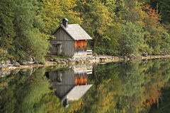 Wooden cabin. Small cabin on Lake Altaussee, Austria Stock Image