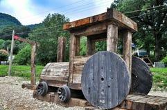 Wooden cabin train Stock Photo