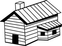 Wooden cabin vector illustration. Vector illustration of a wooden cabin Stock Photo