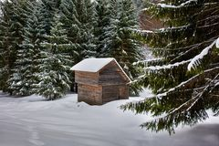Wooden cabin in the winter Royalty Free Stock Photos