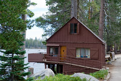 Wooden cabin by Wrights lake Stock Photo