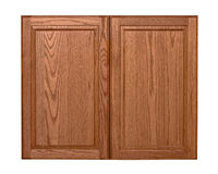 Wooden cabinet doors isolated Stock Photo