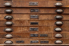 Wooden cabinet with drawers Royalty Free Stock Images