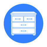 Wooden cabinet with drawers icon in black style isolated on white background. Furniture and home interior symbol stock Stock Photography