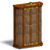 Wooden cabinet with glass of Louis XV. Royalty Free Stock Images