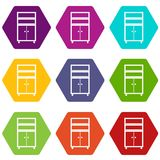 Wooden cabinet icon set color hexahedron. Wooden cabinet icon set many color hexahedron isolated on white vector illustration Stock Images