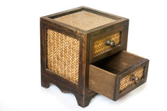 Wooden cabinet. Cabinet made ​​of bamboo handmade to store small items stock photos