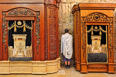 Wooden cabinets with Torah at Western Wall. Royalty Free Stock Images