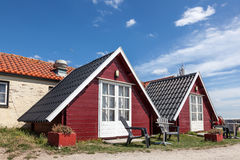 Wooden cabins on a campsite. In Holland royalty free stock photo