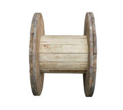 Wooden cable spool table Stock Photos