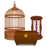 Wooden cage and casket and hourglass. Wooden brown cage and casket and hourglass Royalty Free Stock Image