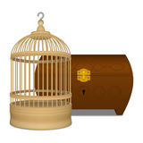 Wooden cage and casket. Wooden yellow cage and brown casket Stock Photo
