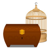 Wooden cage and casket. Wooden yellow cage and brown casket Stock Images