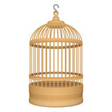 Wooden cage with metal hook. For birds Royalty Free Stock Photo