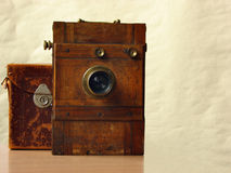 Wooden camera Stock Image
