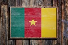 Wooden Cameroon flag Stock Photo