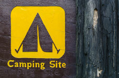 Wooden camp sign Stock Image