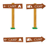 Wooden camping sign vector illustration Royalty Free Stock Images