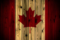 Wooden Canada flag. A Canada flag painted on a wooden wall Stock Image