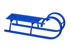 Wooden canadian sledge - blue Stock Image
