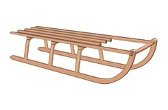 Wooden canadian sledge - brown Stock Images