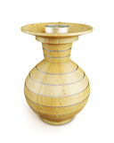 Wooden candle holder with metallic accents Royalty Free Stock Photo