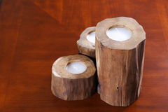 Wooden Candles. On a wood surface. Shot with canon 350d and 50mm Lens Stock Photos