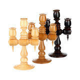 Wooden candlesticks Stock Images