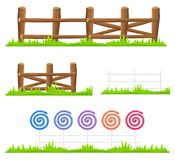 Wooden and Candy Fence Isolated Illustrations Set. Simple wooden fence with green grass and fence made of colorful lollipops and canes isolated on white Stock Photo