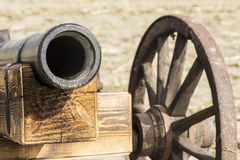 Wooden cannon replica. Man made wooden cannon replica Stock Photos