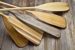 Wooden canoe paddles Royalty Free Stock Photos
