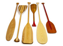 Wooden canoe paddles Stock Photo