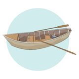 Wooden Canoe with Paddles Stock Photo