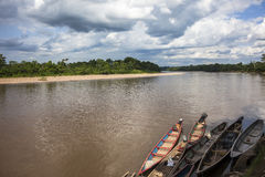 Wooden canoe in river port Royalty Free Stock Photography