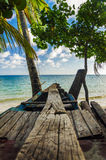 Wooden Canoe and Sea Royalty Free Stock Image