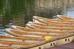 Wooden canoes Royalty Free Stock Image