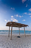 Wooden canopy on the beach Royalty Free Stock Photo