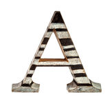 Wooden Capital A Letter. Isolated over white Stock Photos