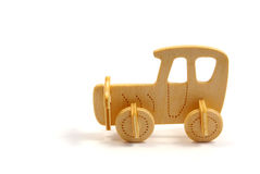 Wooden Car. Toy isolated on white Stock Photo