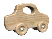 Wooden car. 3d generated hi res wooden toy car Stock Image