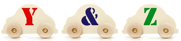 Wooden Car Alphabet Toys Y & Z Royalty Free Stock Images
