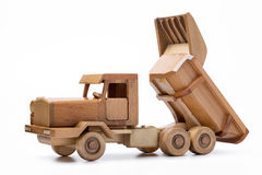 Wooden car close-up isolated on white background. stock image