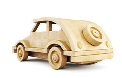Wooden car. 3d illustration. Stock Images