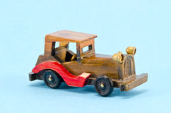 Wooden  car model an azure background Royalty Free Stock Images