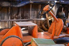 Wooden car. Old wooden cart for children Royalty Free Stock Photos