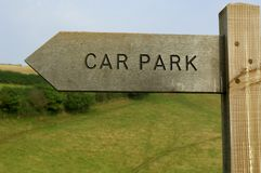 Wooden car park sign. In British countryside stock image